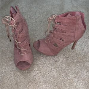 Pink strappy booties